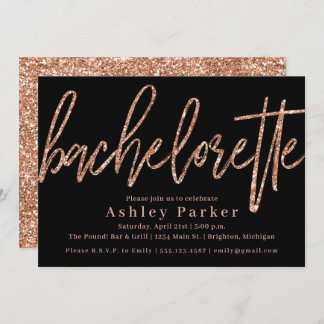 Rose Gold Bachelorette Party Invitation Glitter
