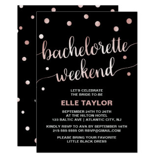 Rose Gold Bachelorette Weekend Invite & Itinerary