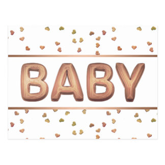 Rose-Gold Balloon Baby Shower   Heart Thank You Postcard