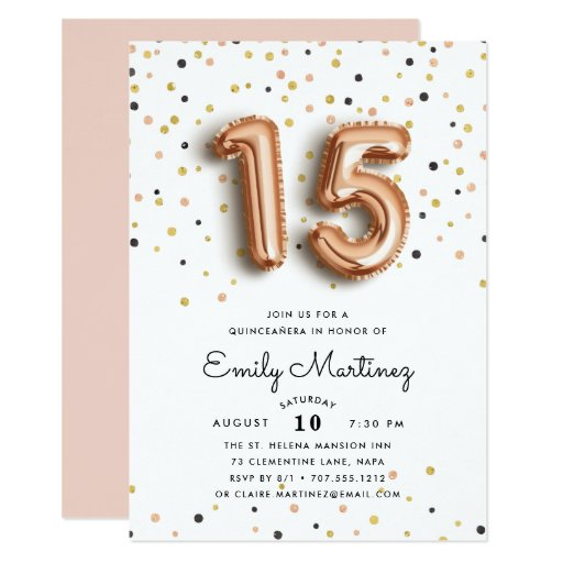 Rose Gold Balloons Quinceanera Invitation