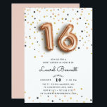 "Rose Gold Balloons | Sweet 16 Party Invitation<br><div class=""desc"">Unique and trendy sweet sixteen birthday party invitations feature ""16"" in rose gold balloons,  on a background of rose gold,  gold and black confetti. Personalize with your party details in modern black lettering. Invitations reverse to solid blush pink.</div>"