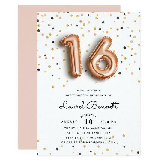 rose gold balloons sweet 16 party invitation zazzle com