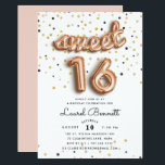 """Rose Gold Balloons   Sweet 16 Party Invitation<br><div class=""""desc"""">Unique sweet sixteen birthday party invitations feature """"sweet 16"""" spelled out in rose gold balloons,  on a background of rose gold,  gold and black confetti. Personalize with your party details in modern black lettering. Invitations reverse to solid blush pink.</div>"""