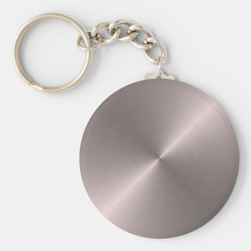Rose Gold Basic Round Button Keychain