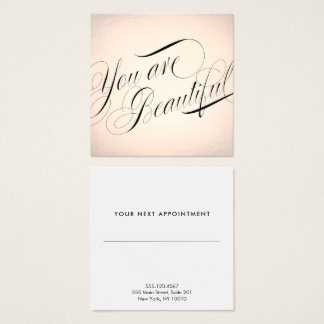 Rose Gold Beauty Salon Appointment Reminder Square Business Card