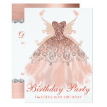 Rose Gold Birthday Party Sparkle Gown Pixie Wings Card