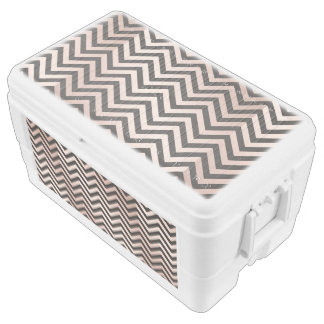 rose gold,black,chevron, zigzag,modern,trendy,chic chest cooler
