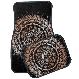 Rose Gold Black Floral Mandala Car Floor Mat