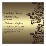 Rose Gold & Black Flower Birthday Invitation