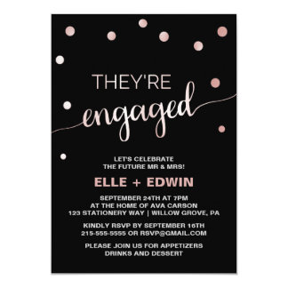 Rose Gold & Black Glam Confetti Engagement Party Card