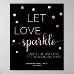 Rose Gold & Black Glam Confetti Sparkler Send Off Poster