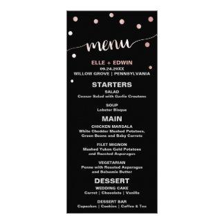 Rose Gold & Black Glam Confetti Wedding Menu Card