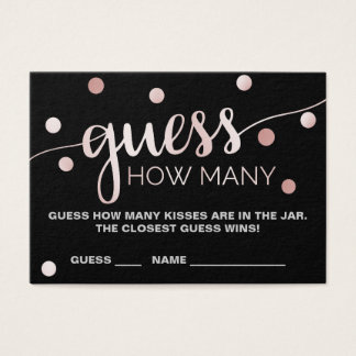 Rose Gold & Black Guess How Many Kisses Game Cards