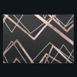"""Rose Gold Black Linear Triangle Abstract Pattern Placemat<br><div class=""""desc"""">This chic and elegant faux rose gold, black, and white linear triangle abstract pattern is perfect for the trendy and stylish woman. Its modern and fashionable print is great for many gifts and occasions. Enjoy this bold and contemporary design for your next purchase; for yourself, your friends, or your family....</div>"""