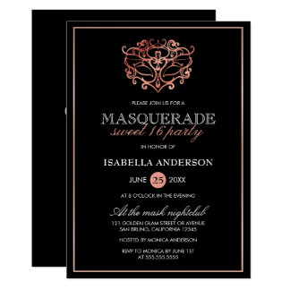Rose Gold & Black Masquerade Sweet 16 Typography Card