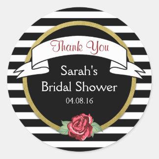 Rose Gold Black Stripes Bridal Shower Thank You Classic Round Sticker