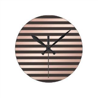 rose gold, black,stripes,pattern,modern,trendy,chi round clock
