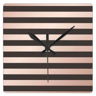 rose gold, black,stripes,pattern,modern,trendy,chi square wall clock