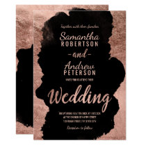 Rose gold black watercolor typography wedding 2 invitation