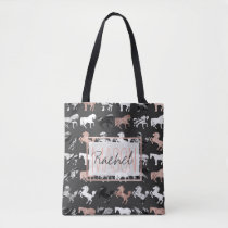 Rose Gold Black White Marble Modern Horse Monogram Tote Bag