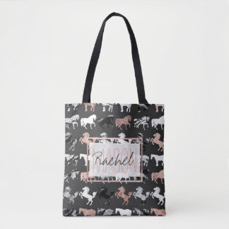 Rose Gold Black White Marble Modern Horse Monogram Tote Bag