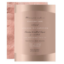 Rose Gold Black White Minimal Glitter Linen Lux Invitation