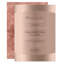 Rose Gold Black White Minimal Glitter Sparkly Invitation