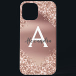 """Rose Gold Bling Luxury Sparkle Glitter Monogram iPhone 12 Pro Max Case<br><div class=""""desc"""">Blush Pink - Rose Gold Bling Ombre Sparkle and Faux Metallic Foil Glitter Girly Modern Monogram First Name and Initial Smart Phone Case. Please contact the designer for matching items</div>"""