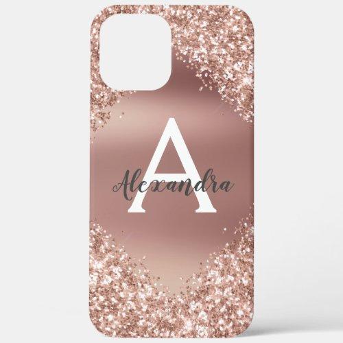 Rose Gold Bling Luxury Sparkle Glitter Monogram Phone Case