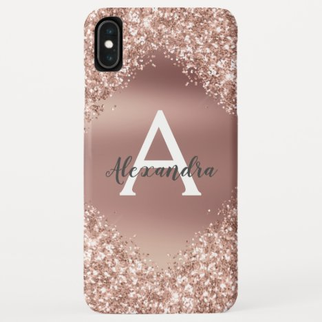 Rose Gold Bling Luxury Sparkle Glitter Monogram iPhone XS Max Case