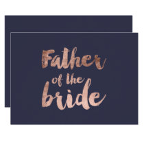 Rose gold blue father of the bride invitation