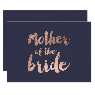 Rose gold blue mother of the bride card