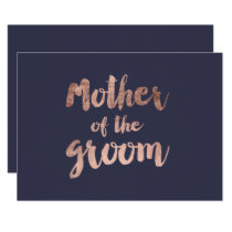 Rose gold blue mother of the groom invitation