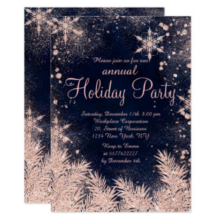 Rose Gold Blue Snowflake Winter Corporate Holiday Card at Zazzle