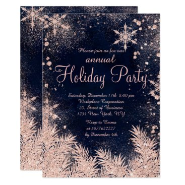 Professional Business Rose gold blue snowflake winter corporate holiday card