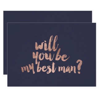 Rose gold blue Will you be my best man Card