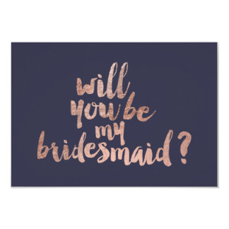 Rose gold blue Will you be my Bridesmaid Invitation