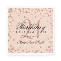 Rose Gold Blush 21st Birthday Glitter Confetti Napkin