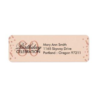 Rose Gold Blush 80th Birthday Glitter Confetti Label