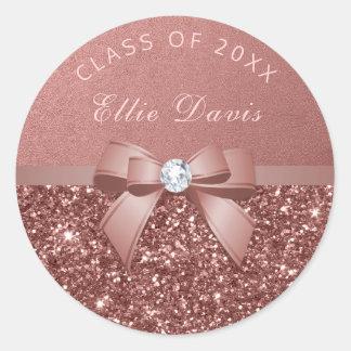 Rose Gold Blush Diamonds Bow Glitter Graduation Classic Round Sticker