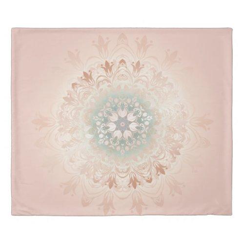 Rose Gold Blush Floral Mandala Duvet Cover