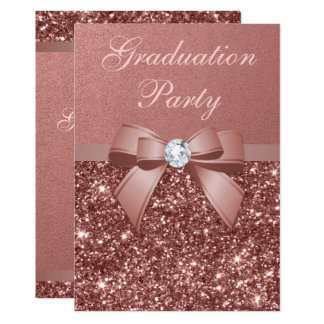 Rose Gold Blush Glitter Bow Graduation Party Card