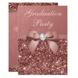 Rose Gold Blush Glitter Bow Graduation Party Card