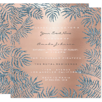 Rose Gold Blush Glitter Powder Floral Blue Pink Card