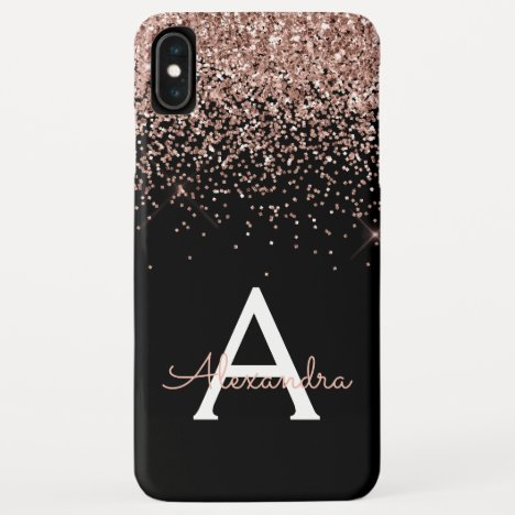 Rose Gold Blush Pink Black Luxury Glitter Monogram iPhone XS Max Case