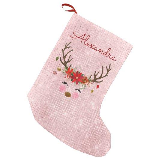 Pink Christmas Stocking.Rose Gold Blush Pink Christmas Reindeer Monogram Small Christmas Stocking