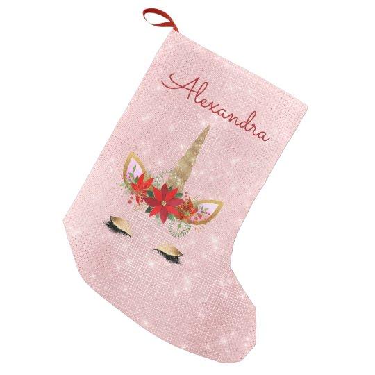 Pink Christmas Stocking.Rose Gold Blush Pink Christmas Unicorn Monogram Small Christmas Stocking