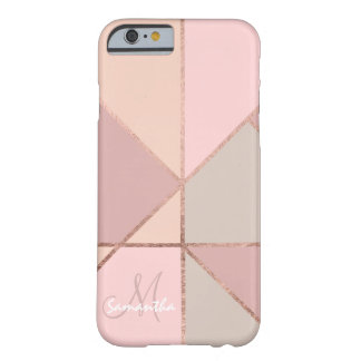 Rose gold blush pink coral color block monogram barely there iPhone 6 case