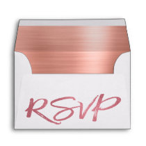 Rose Gold Blush Pink Foil and White RSVP Envelope
