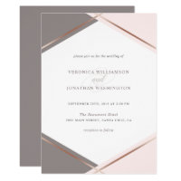 Rose Gold Blush Pink Geometric Wedding Invitation